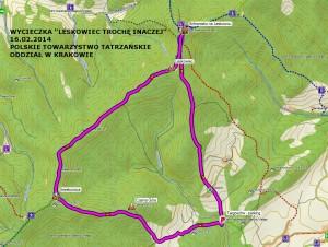 Mapka wycieczki na Leskowiec 2014.02.16