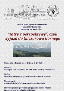 Plakat Gliczarów Górny 1-2.02.2014