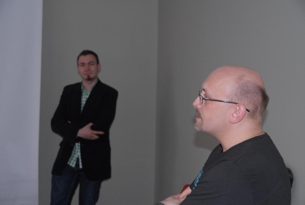Michał zagala przed prelekcją Mateusza.