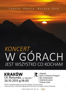 plakat koncert W górach jest wszytsko co kocham Kraków 2014