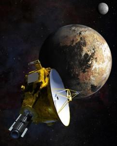 Artystyczna wizja zbliżenia sondy New Horizons do Plutona i układu jego księżyców.