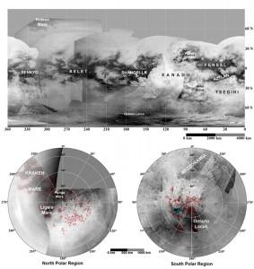 Mapa powierzchni księżyca Saturna, Tytana, na podstawie zdjęć z sondy Cassini i próbnika Huyghens który przez gęstą atmosferę opadł na powierzchnię tego satelity.
