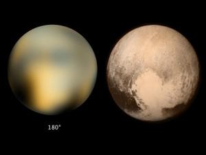 Porównanie obrazów tej samej półkuli Plutona wykonanych przez HST (z lewej) i New Horizons (z prawej).