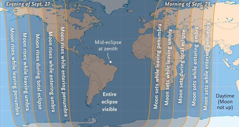 Mapa rejonów kuli ziemskiej z których będzie widoczne zaćmienie. Dla lewej części mapy zacznie się ono przed początkiem nocy, dla prawej (w tym i w Polsce) - skończy się już w dzień. Środkowa część oznacza regiony (Ameryka Południowa i część Północnej, zachodnia część Europy i Afryki) ale których efemeryda przewiduje że obserwować można będzie całe zjawisko (gdyby nie ci meteorolodzy…). Żródło - Sky&Telescope.