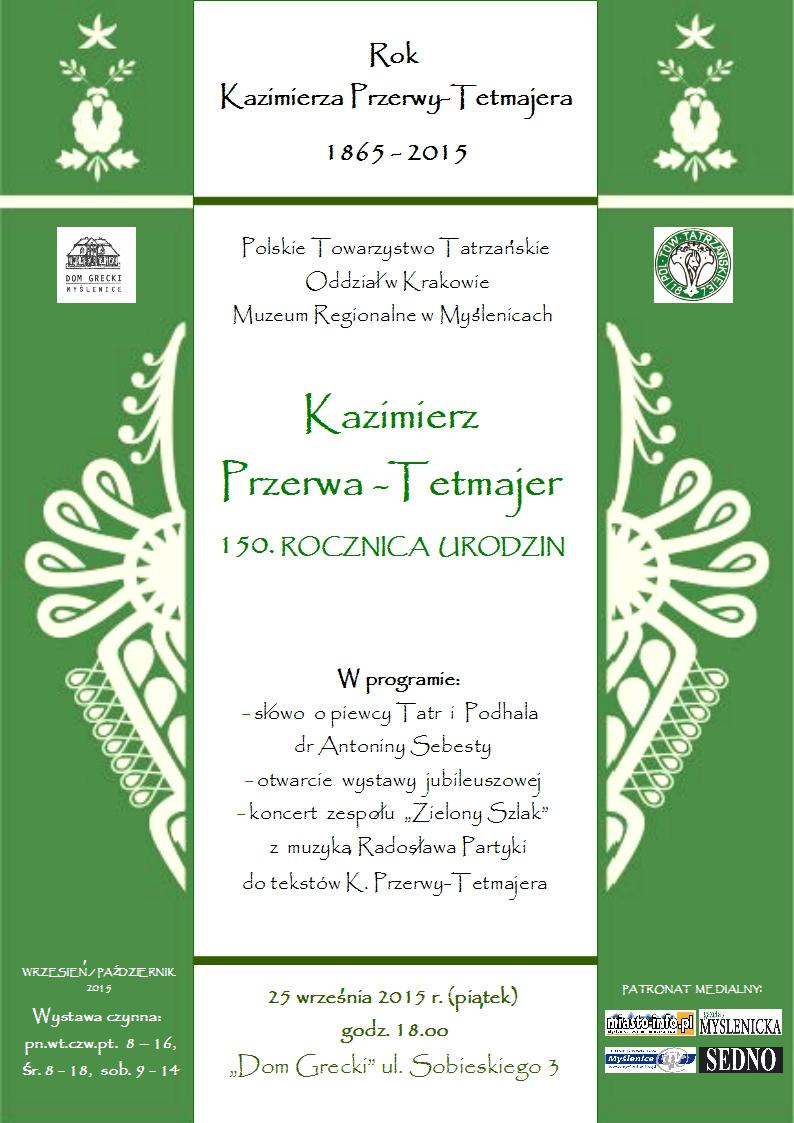 Plakat wystawy w Myślenicach, wernisaż 25 września 2015 (najbliższy piątek).