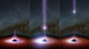 Schemat czarnej dziury wyrzucającej swoją koronę (fioletowa chmura cząstek) i powodującej tym samym rozbłysk całego układu w promieniach rentgenowskich.