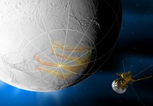 Wizja artysytczna zbliżenia sondy Cassini do księżyca Saturna, Enceladusa.