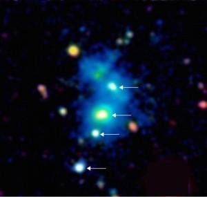 Najmłodsza (w sensie wieku Wszechświata) znana grupa galaktyk sprzed ponad 10 mld lat.