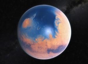 Mars w przeszłości z hipotetycznym oceanem wielkości Atlantyku.