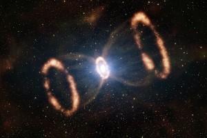 Pierścienie - echa świetlne i szoki po wybuchu supernowej SN1987A zarejestrowanym prawie 30 lat temu.