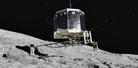 Lądownik Philae na powierzchni jądra komety 67P/Churyumov-Gerasimenko - wizja artystyczna na podstawie autentycznych zdjęć.