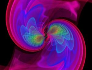 Zlewanie się 2 gwiazdowych czarnych dziur - symulacja komputerowa