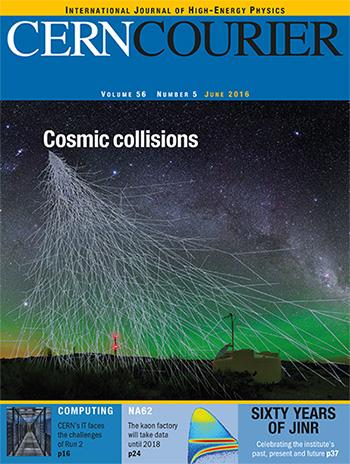 Tytułowa strona czasopisma CERN Courier z informacją o udoskonaleniu (upgrade) oberwatorium Pierre Auger.