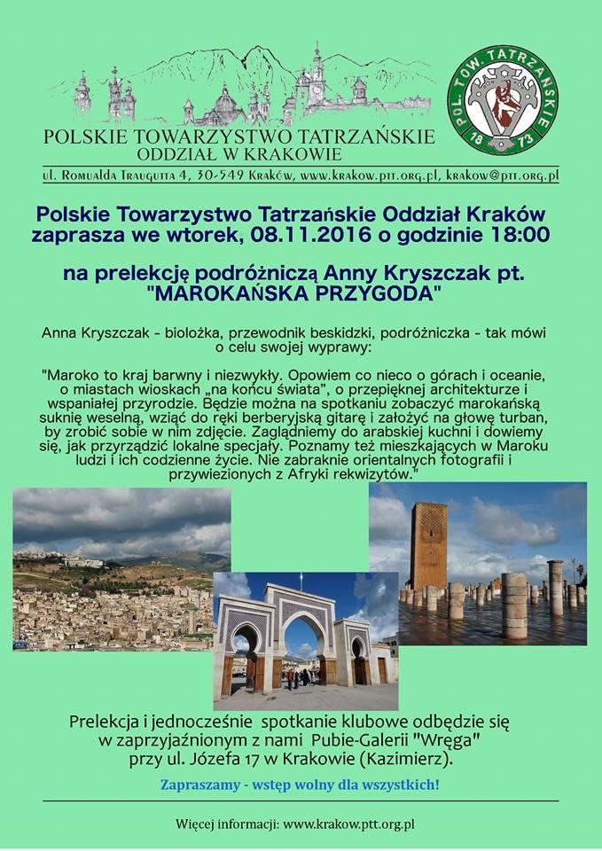 Plakat zapowiadający prelekcję Anny Kryszczak.