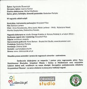 Twórcy, patroni i sponsorzy płyty.