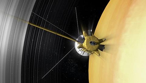 Artystyczna wizualizacja przejścia sondy Cassini przez przerwę w pierścieniach Saturna nazwaną tym samym imieniem.