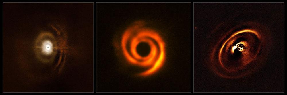 Dyski protoplanetarne z formującymi się ciałami niebieskimi o kilkaset lat świetlnych od Układu Słonecznego. Źródło - instrument SPHERE na Very Large Telescope.