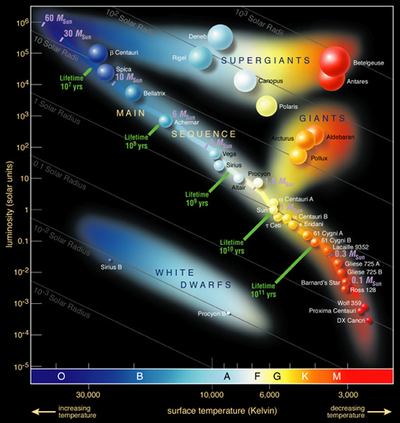 Wykres Hertzsprung'a-Russell'a (zwany krótko diagramem H-R) z widoczną na przekątnej strukturą ciągu głównego i oznaczonymi czasami przebywania na niej różnych typów widmowych gwiazd. Poniżej białe karły, powyżej - olbrzymy i nadolbrzymy.