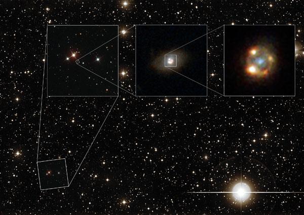 Zoom na okolice supernowej IPTF16gem i galaktykę soczewkującą.