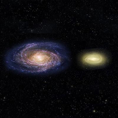 Porównanie rozmiarów Drogi Mlecznej (z lewej) i galaktyki MACS 2129-1, 3x cięższej od Galaktyki, po odjęciu efektów soczewkowania MACS2129-1.