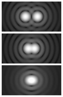 Ilustracja kryterium Rayleigh'a: górny obrazek - źródła rozdzielone, środkowy - na granicy rozdzielczości, dolny - źródła nie do rozdzielenia tradycyjną metodą. Źródło - Wikipedia.