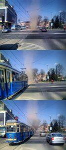 """""""Demon piaskowy"""" (dust devil) pod DH Jubilat w Krakowie - trwający kilkadziesiąt sekund wir powietrza."""