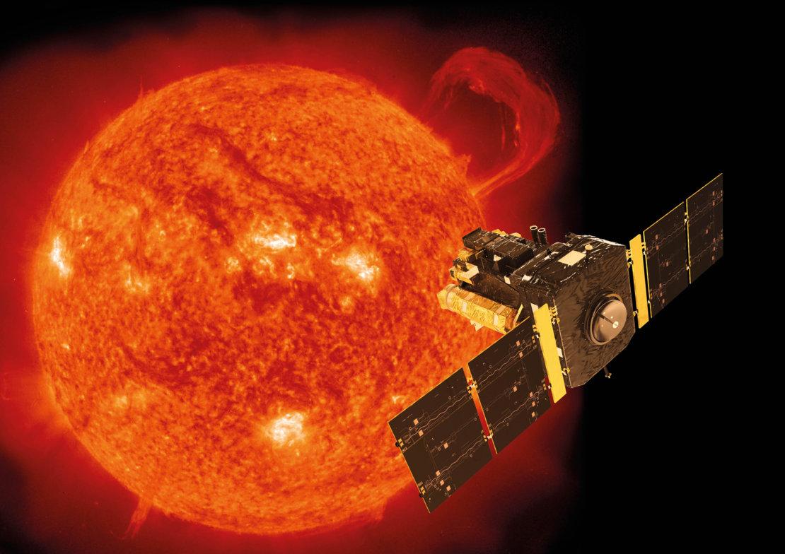 Wizja artystyczna satelity SOHO (the Solar and Heliospheric Obserwatory). Źródło - NASA/ESA.