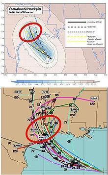 U dołu: prognoza wiązkowa położenia huraganu Katrina w ciągu najbliższych 5 dni (120 godzin) i błąd położenia huraganu wyznaczony dla 2-3 dnia w oparciu o tą prognozę. U góry - faktyczny tor huraganu.
