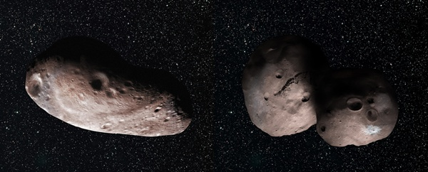 Wizja obiektu MU69 wg 2 różnych hipotez - kształtu ziemniaka bądź hantli. Żródło: NASA/Johns Hopkins University Applied Physics Laboratory/Southwest Research Institute/Alex Parker.