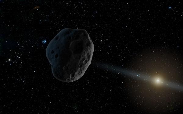 Wizja artystyczna komety - intruza przed wlotem w Układ Sloneczny. Źródło: NASA/JPL Caltech.