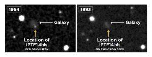 Widok z przeglądu palomarskiego na galaktykę z supernową w 1954 roku i bez widocznej supernowej w 1993 roku. Źródło: POSS/DSS/LCO/S. Wilkinson