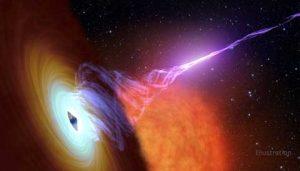 Wyobrażenie zapłonu jetu w układzie V404 Cygni - źródło: NASA/Caltech.