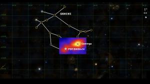 Położenie pulsara Geminga i B0656+14 na tle gwiazdozbioru Bliźniąt (zodiakalnego, widocznego w Polsce na niebie zimowym).