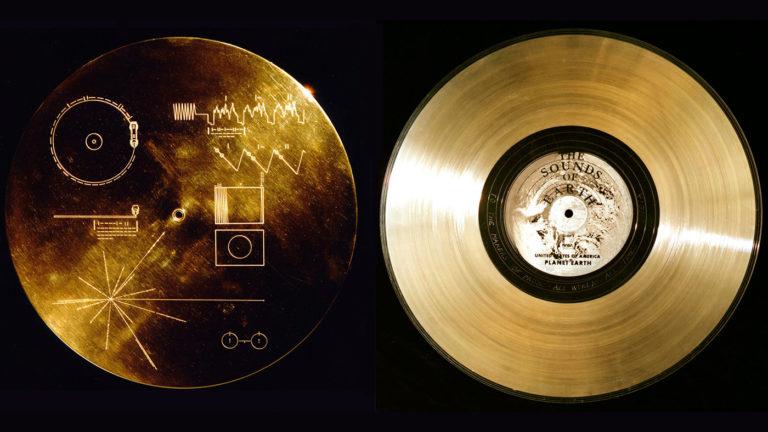 Grawerowana w złocie płytka pokryta uranem-238 przymocowana do sondy Voyager-1.