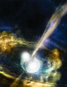 Wizja artystyczna autorstwa A. Simmonet zlewających się ze sobą gwiazd neutronowych, produkujących zmarszczki otaczającej je czasoprzestrzeni. Żródło: NSF/LIGO.