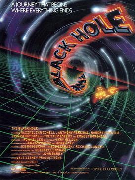 """Poster sztuki """"Czarna dziura"""" z 1979 roku wyprodukowanej przez Buena Vista i Walta Disney'a."""