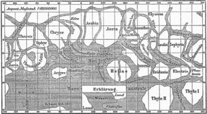 Mapa Marsa sporządzona na podstawie obserwacji Schiaparellego. Źródło - Wikipedia.