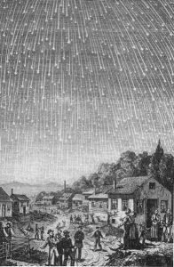 Deszcz Leonidów w 1833 roku - zaobserwowano ponad 100,000 na godzinę. Źródło - Wikimedia Commons.