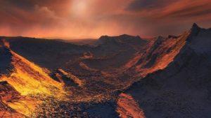"""Krajobraz hipotetycznej planety okrążającej Gwiazdę Barnarda. Źródło """"Science Daily""""."""