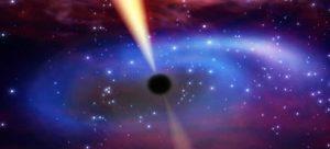 Czarna dziura z dyskiem akrecyjnym i jetami - wizja artystyczna. Źródło - Sky and Telescope.