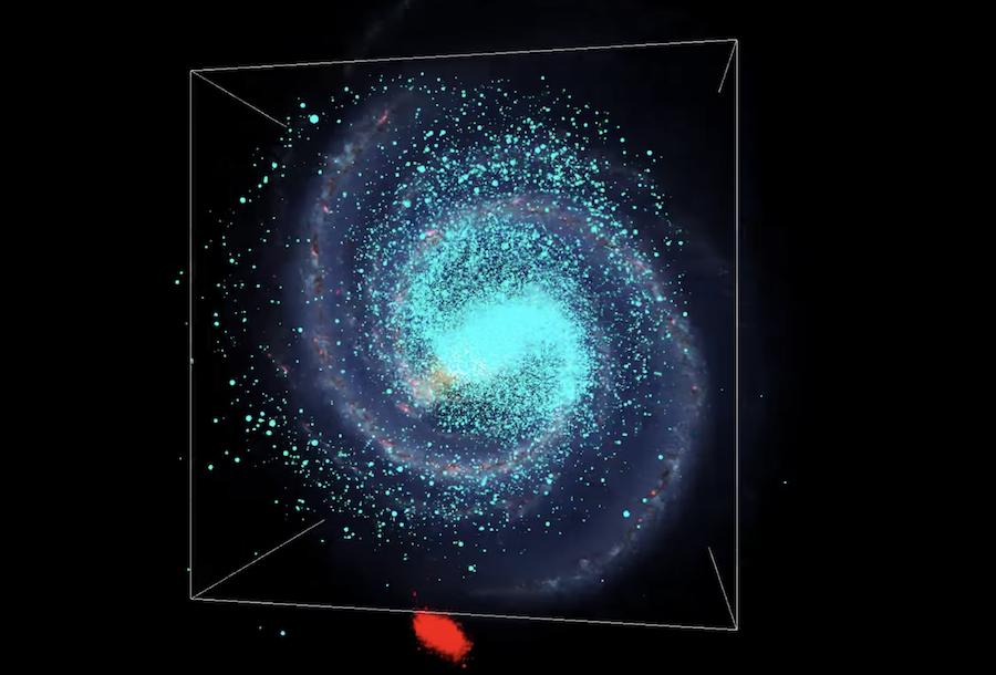 """""""Galaktyka w Galaktyce"""" czyli jeden z 30 strumieni gwiazd (na czerwono). Źródło - Kappelman, Villalobos, Helmi; University of Groningen, Holandia."""